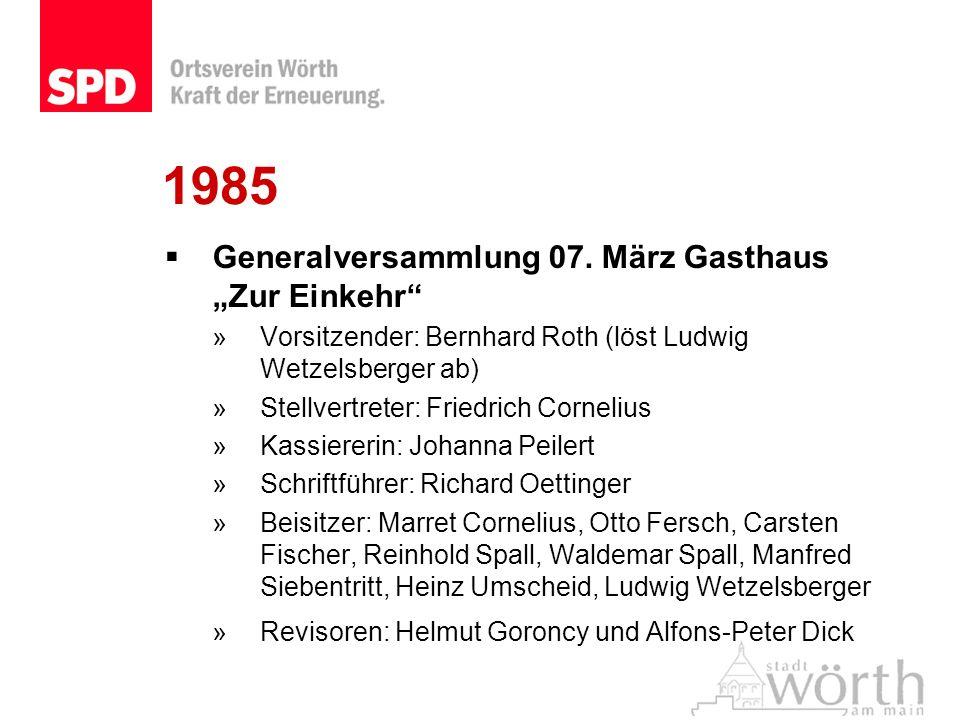 1985 Generalversammlung 07. März Gasthaus Zur Einkehr »Vorsitzender: Bernhard Roth (löst Ludwig Wetzelsberger ab) »Stellvertreter: Friedrich Cornelius