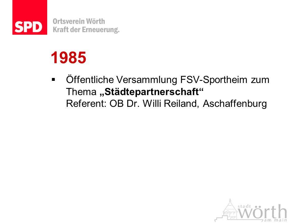 1985 Öffentliche Versammlung FSV-Sportheim zum Thema Städtepartnerschaft Referent: OB Dr. Willi Reiland, Aschaffenburg