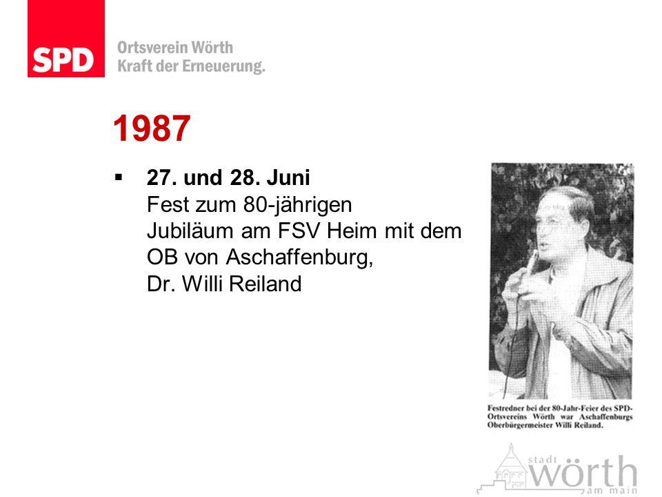 1987 27. und 28. Juni Fest zum 80-jährigen Jubiläum am FSV Heim mit dem OB von Aschaffenburg, Dr. Willi Reiland