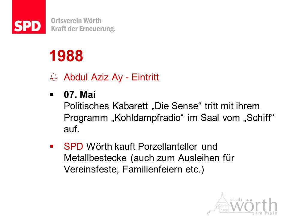 1988 Abdul Aziz Ay - Eintritt 07. Mai Politisches Kabarett Die Sense tritt mit ihrem Programm Kohldampfradio im Saal vom Schiff auf. SPD Wörth kauft P
