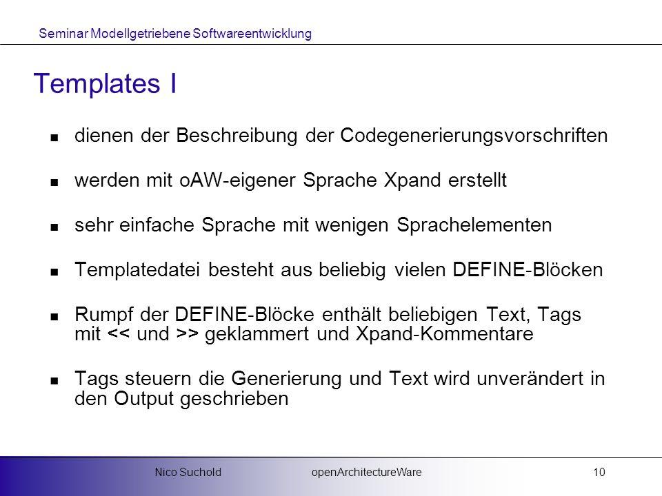 Seminar Modellgetriebene Softwareentwicklung openArchitectureWareNico Suchold10 Templates I dienen der Beschreibung der Codegenerierungsvorschriften w