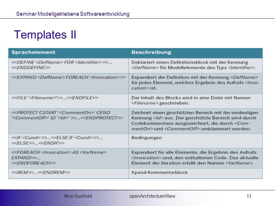 Seminar Modellgetriebene Softwareentwicklung openArchitectureWareNico Suchold11 Templates II