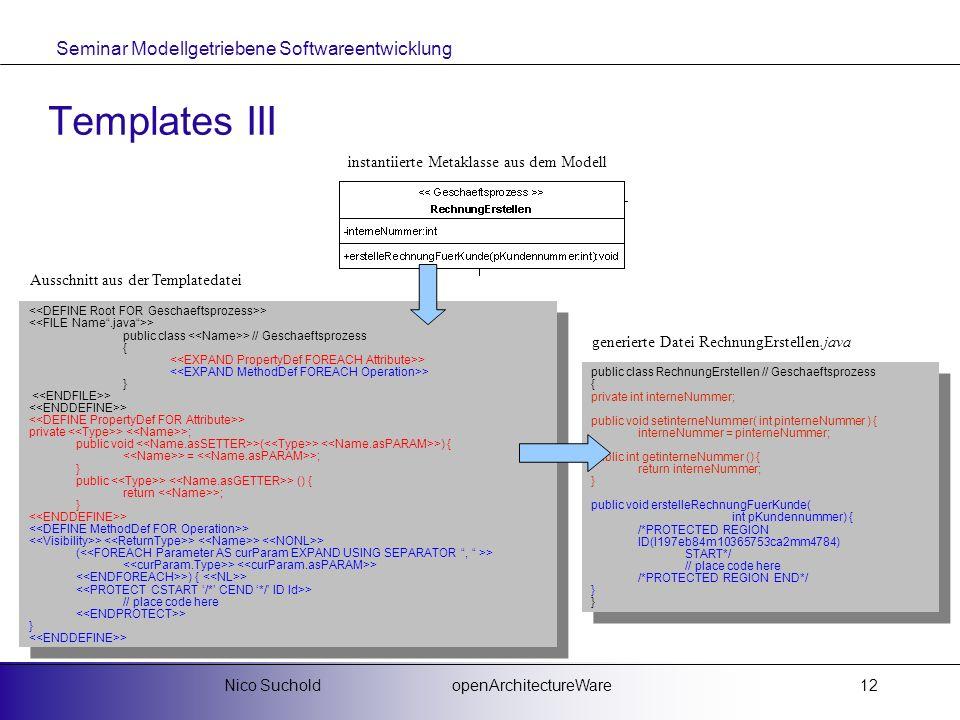 Seminar Modellgetriebene Softwareentwicklung openArchitectureWareNico Suchold12 Templates III > public class > // Geschaeftsprozess { > } > private >
