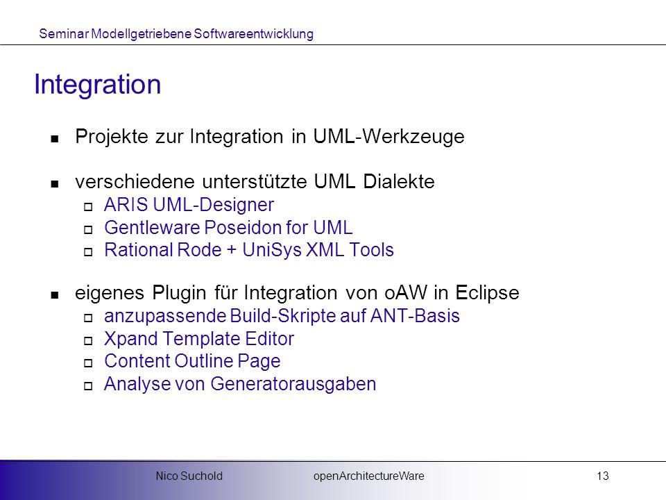 Seminar Modellgetriebene Softwareentwicklung openArchitectureWareNico Suchold13 Integration Projekte zur Integration in UML-Werkzeuge verschiedene unt