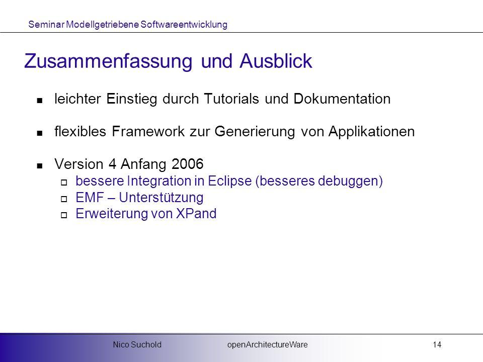 Seminar Modellgetriebene Softwareentwicklung openArchitectureWareNico Suchold14 Zusammenfassung und Ausblick leichter Einstieg durch Tutorials und Dok