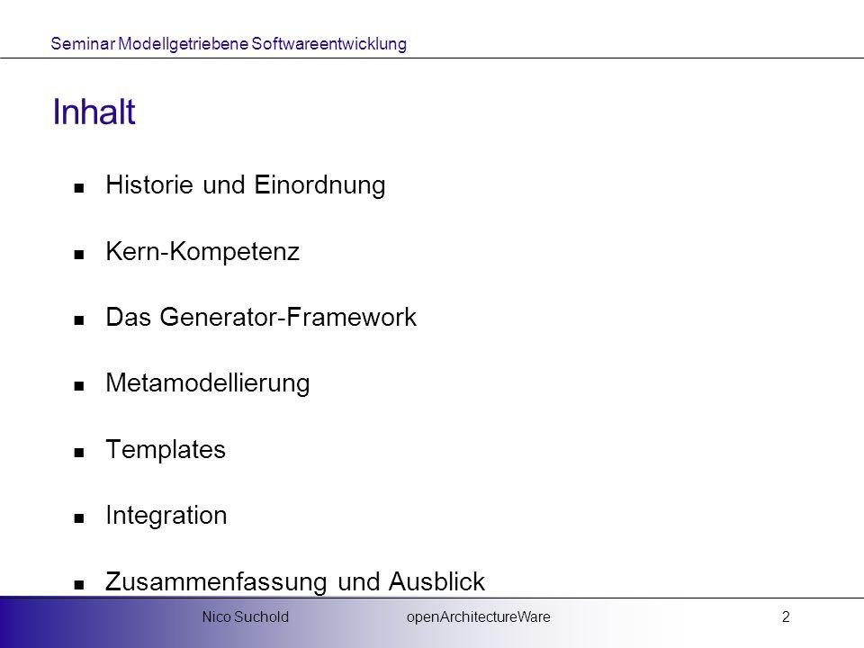 Seminar Modellgetriebene Softwareentwicklung openArchitectureWareNico Suchold2 Inhalt Historie und Einordnung Kern-Kompetenz Das Generator-Framework M