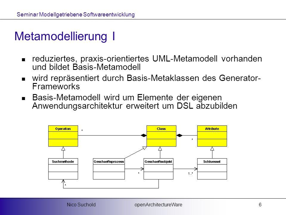Seminar Modellgetriebene Softwareentwicklung openArchitectureWareNico Suchold7 Metamodellierung II für abgeleitete Element des Metamodells müssen die jeweiligen Metaklassen erstellt werden am einfachsten mittels Vererbung der Basis-Metaklassen und Implementierung speziell benötigter Methoden zu realisieren