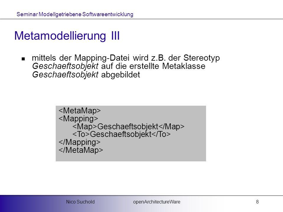 Seminar Modellgetriebene Softwareentwicklung openArchitectureWareNico Suchold8 Metamodellierung III mittels der Mapping-Datei wird z.B. der Stereotyp