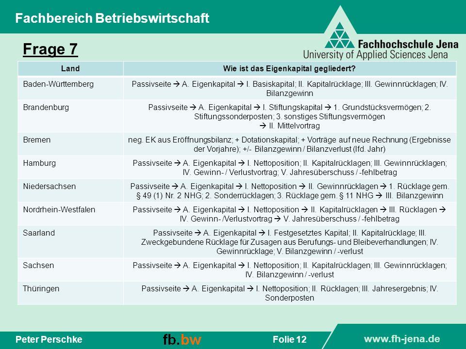 www.fh-jena.de Folie 12Peter Perschke Fachbereich Betriebswirtschaft Frage 7 LandWie ist das Eigenkapital gegliedert? Baden-WürttembergPassivseite A.