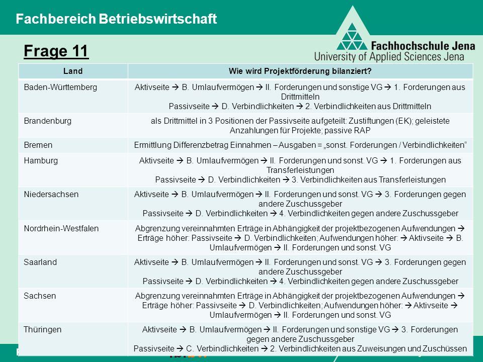 www.fh-jena.de Folie 14Peter Perschke Fachbereich Betriebswirtschaft Frage 11 LandWie wird Projektförderung bilanziert? Baden-WürttembergAktivseite B.