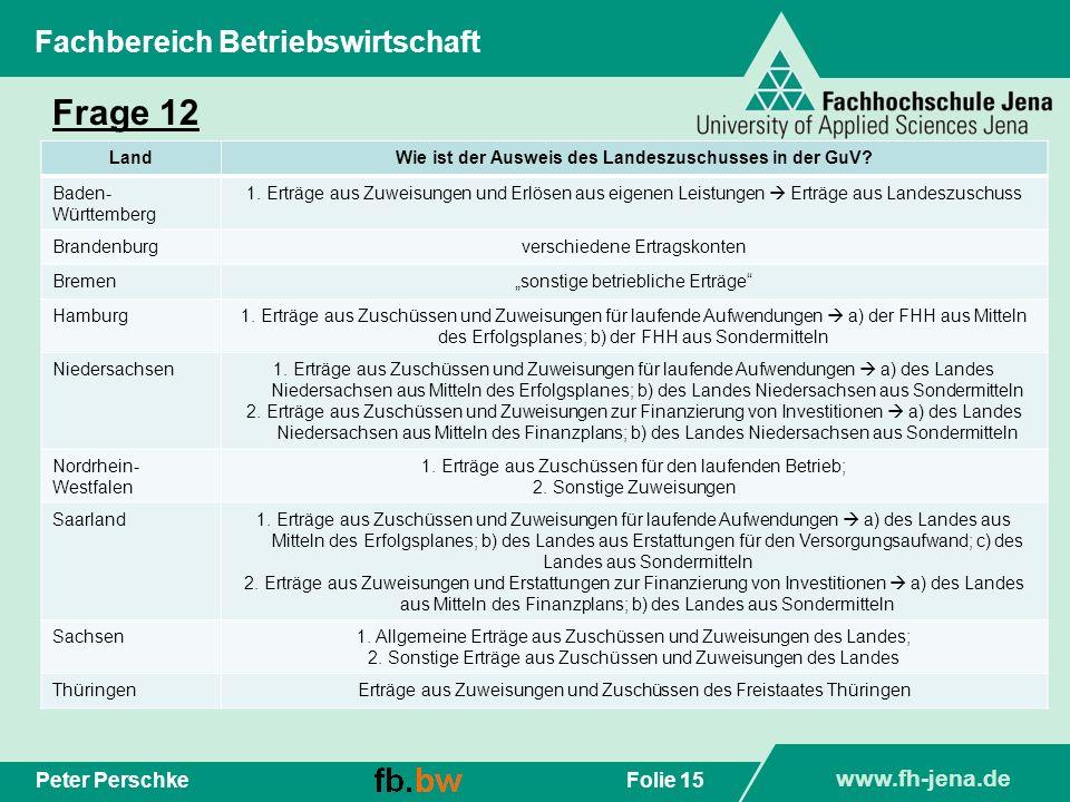 www.fh-jena.de Folie 15Peter Perschke Fachbereich Betriebswirtschaft Frage 12 LandWie ist der Ausweis des Landeszuschusses in der GuV? Baden- Württemb