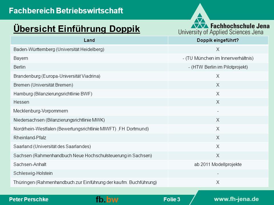 www.fh-jena.de Folie 3Peter Perschke Fachbereich Betriebswirtschaft Übersicht Einführung Doppik LandDoppik eingeführt? Baden-Württemberg (Universität