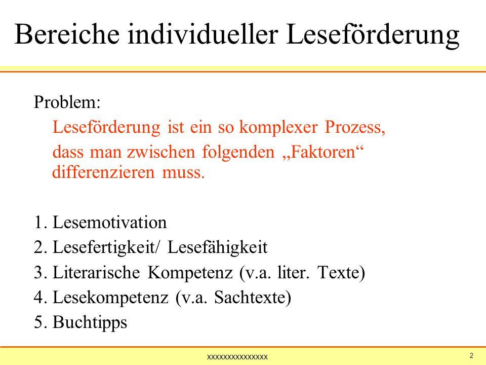 xxxxxxxxxxxxxxx 2 Bereiche individueller Leseförderung Problem: Leseförderung ist ein so komplexer Prozess, dass man zwischen folgenden Faktoren diffe
