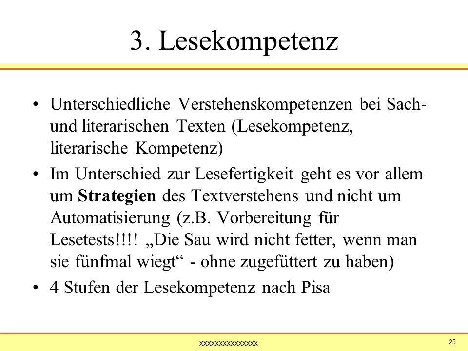 xxxxxxxxxxxxxxx 25 3. Lesekompetenz Unterschiedliche Verstehenskompetenzen bei Sach- und literarischen Texten (Lesekompetenz, literarische Kompetenz)