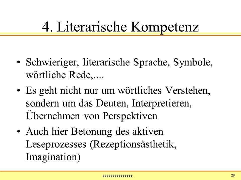 xxxxxxxxxxxxxxx 28 4. Literarische Kompetenz Schwieriger, literarische Sprache, Symbole, wörtliche Rede,.... Es geht nicht nur um wörtliches Verstehen