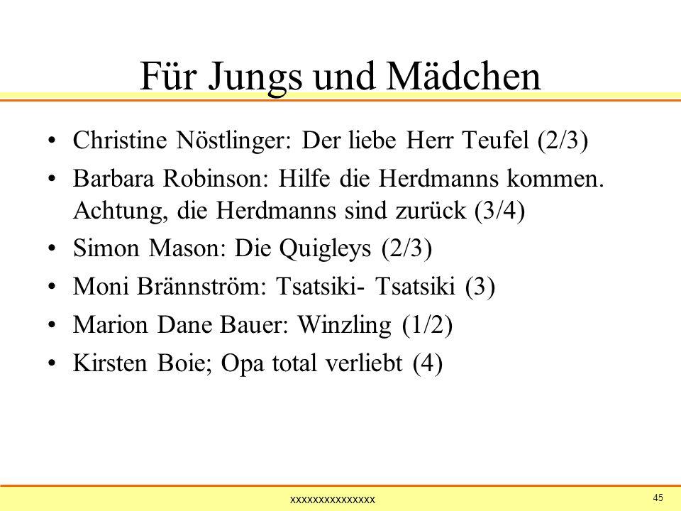 xxxxxxxxxxxxxxx 45 Für Jungs und Mädchen Christine Nöstlinger: Der liebe Herr Teufel (2/3) Barbara Robinson: Hilfe die Herdmanns kommen. Achtung, die