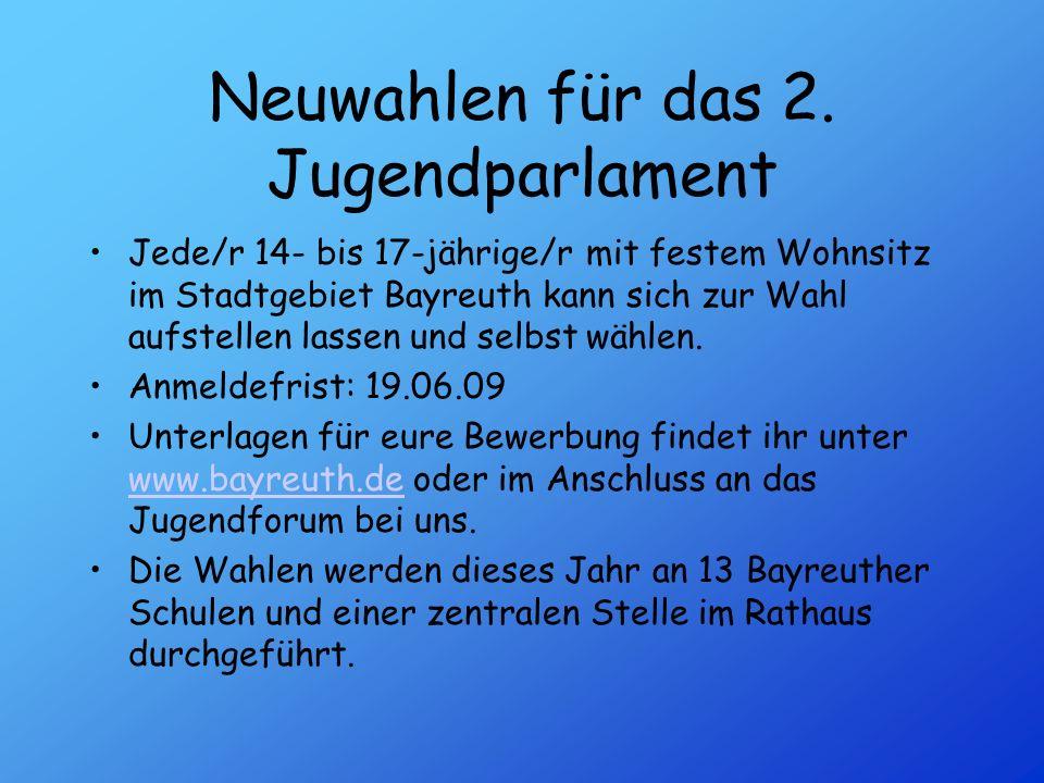 Neuwahlen für das 2. Jugendparlament Jede/r 14- bis 17-jährige/r mit festem Wohnsitz im Stadtgebiet Bayreuth kann sich zur Wahl aufstellen lassen und