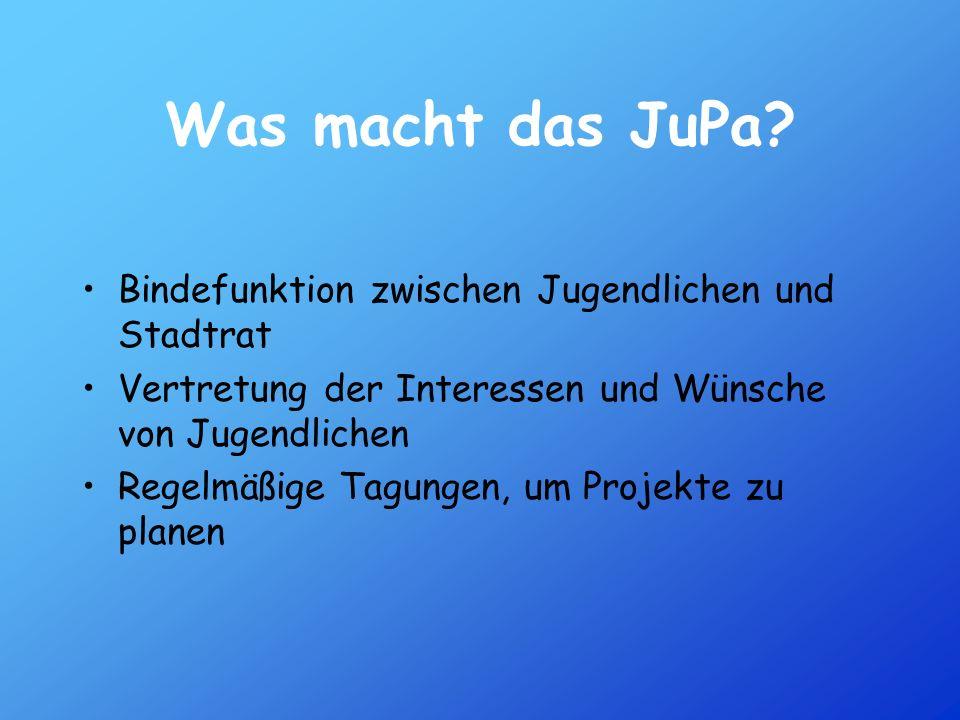 Was macht das JuPa? Bindefunktion zwischen Jugendlichen und Stadtrat Vertretung der Interessen und Wünsche von Jugendlichen Regelmäßige Tagungen, um P