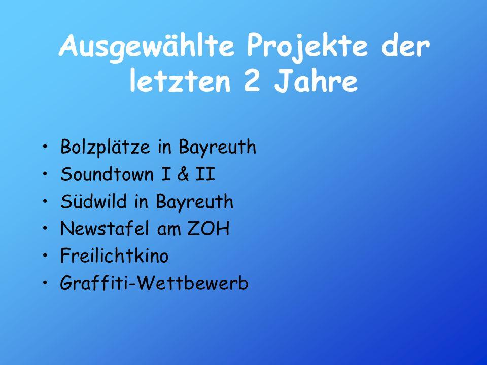 Ausgewählte Projekte der letzten 2 Jahre Bolzplätze in Bayreuth Soundtown I & II Südwild in Bayreuth Newstafel am ZOH Freilichtkino Graffiti-Wettbewer