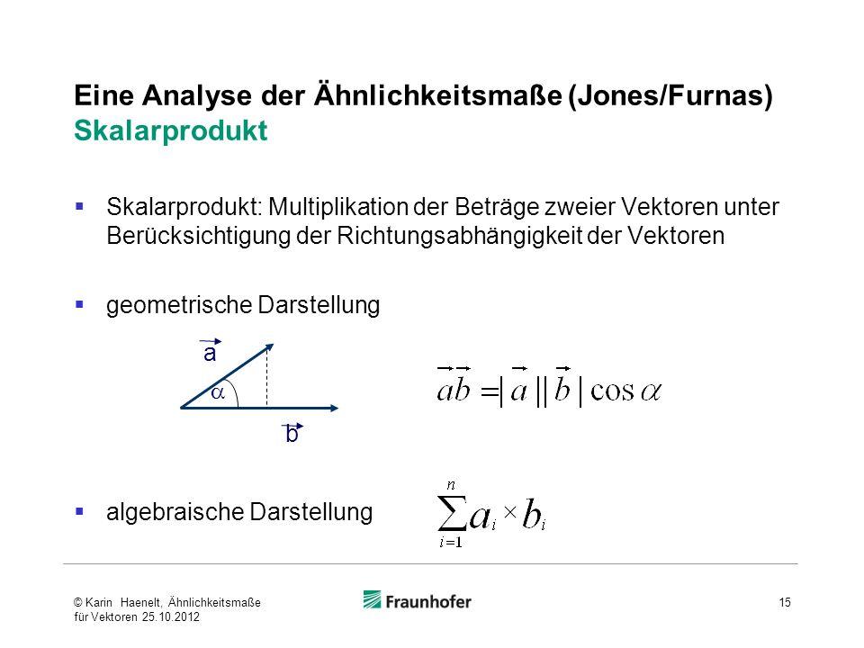 Eine Analyse der Ähnlichkeitsmaße (Jones/Furnas) Skalarprodukt Skalarprodukt: Multiplikation der Beträge zweier Vektoren unter Berücksichtigung der Ri