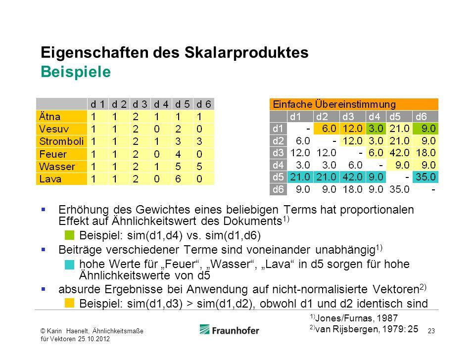 Eigenschaften des Skalarproduktes Beispiele Erhöhung des Gewichtes eines beliebigen Terms hat proportionalen Effekt auf Ähnlichkeitswert des Dokuments