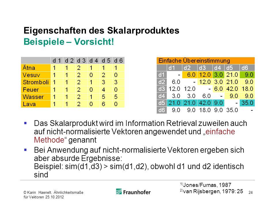 Eigenschaften des Skalarproduktes Beispiele – Vorsicht! Das Skalarprodukt wird im Information Retrieval zuweilen auch auf nicht-normalisierte Vektoren
