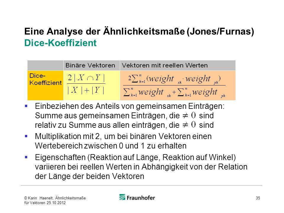 35 Eine Analyse der Ähnlichkeitsmaße (Jones/Furnas) Dice-Koeffizient Einbeziehen des Anteils von gemeinsamen Einträgen: Summe aus gemeinsamen Einträge