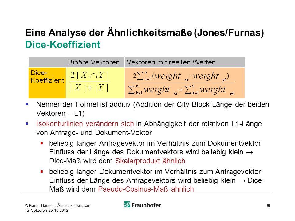 Eine Analyse der Ähnlichkeitsmaße (Jones/Furnas) Dice-Koeffizient Nenner der Formel ist additiv (Addition der City-Block-Länge der beiden Vektoren – L