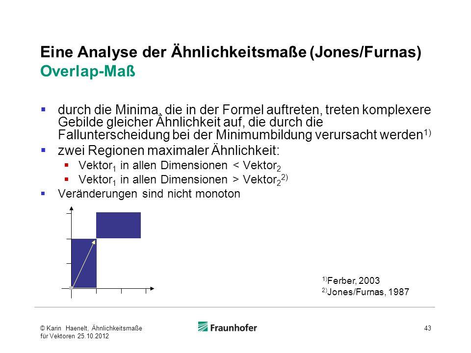 Eine Analyse der Ähnlichkeitsmaße (Jones/Furnas) Overlap-Maß durch die Minima, die in der Formel auftreten, treten komplexere Gebilde gleicher Ähnlich