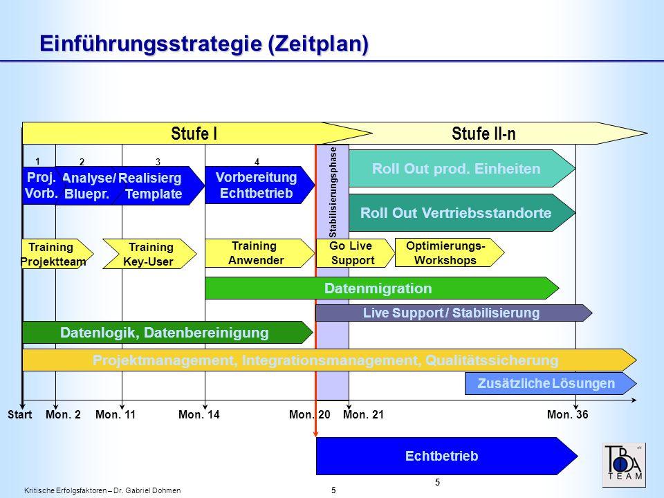 Kritische Erfolgsfaktoren – Dr. Gabriel Dohmen 5 Einführungsstrategie (Zeitplan) Analyse/ Bluepr.