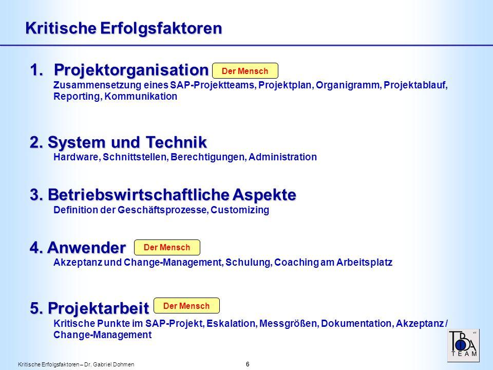 Kritische Erfolgsfaktoren – Dr.Gabriel Dohmen 7 Kritische Erfolgsfaktoren 1.Projektorganisation 2.