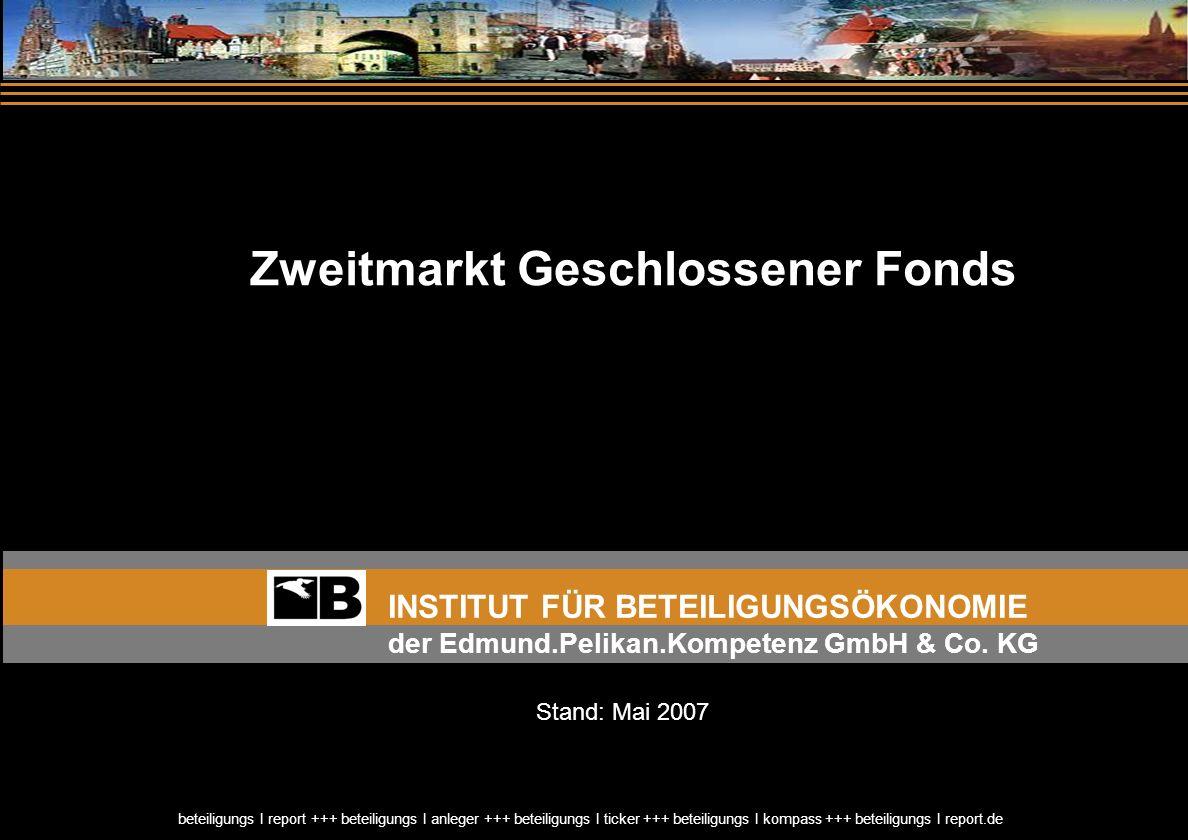 Rückblick / Ausblick Beteiligungsmarkt 2007 beteiligungs I report +++ beteiligungs I anleger +++ beteiligungs I ticker +++ beteiligungs I kompass +++ beteiligungs I report.de Rückblick / Ausblick Beteiligungsmarkt 2007 beteiligungs I report +++ beteiligungs I anleger +++ beteiligungs I ticker +++ beteiligungs I kompass +++ beteiligungs I report.de 12 Steuerliche Hemmnisse einer Anteilsübertragung Geschlossene Fonds (KG-Anteil) Unterschiedsbetrag Der Unterschiedsbetrag wird bei Veräußerung des Schiffes unabhängig vom tatsächlich erzielten Veräußerungserlös besteuert.