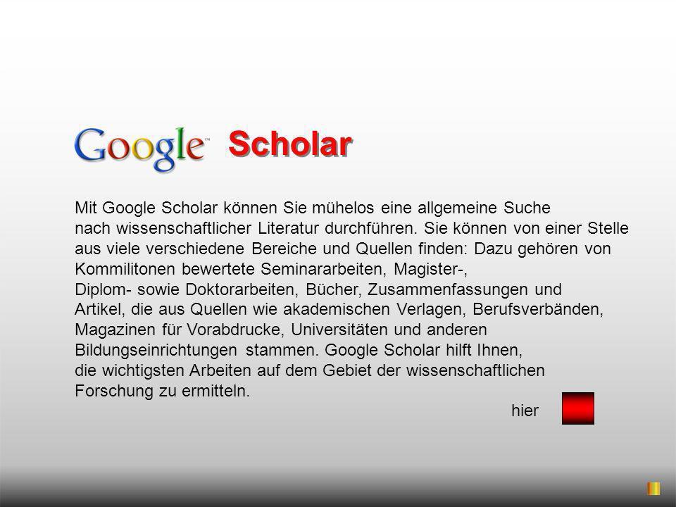 Mit Google Scholar können Sie mühelos eine allgemeine Suche nach wissenschaftlicher Literatur durchführen. Sie können von einer Stelle aus viele versc