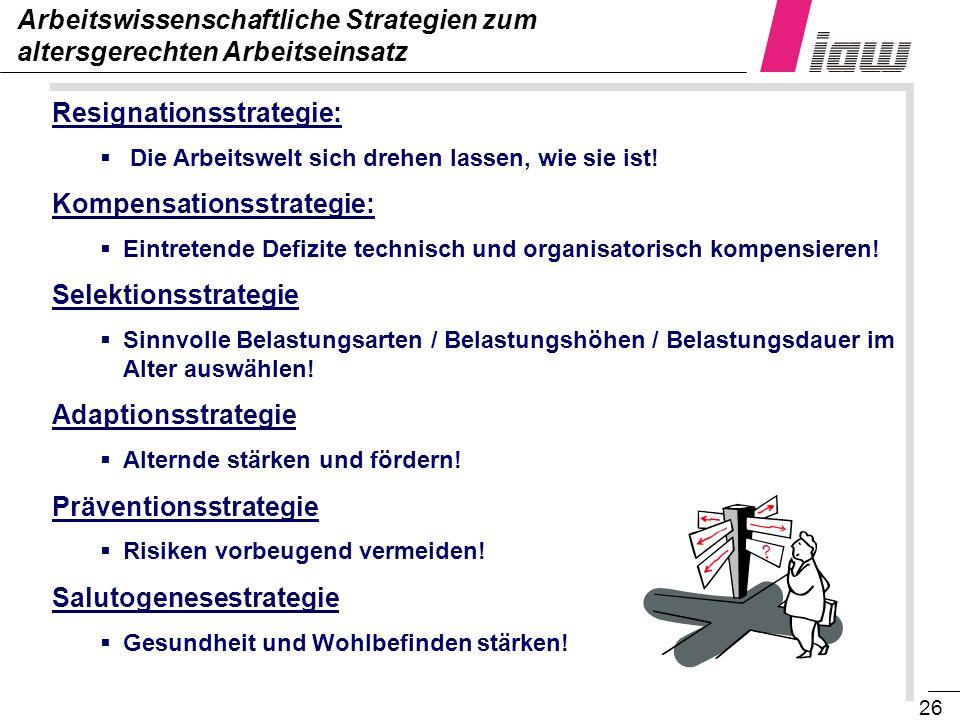 26 Resignationsstrategie: Die Arbeitswelt sich drehen lassen, wie sie ist! Kompensationsstrategie: Eintretende Defizite technisch und organisatorisch
