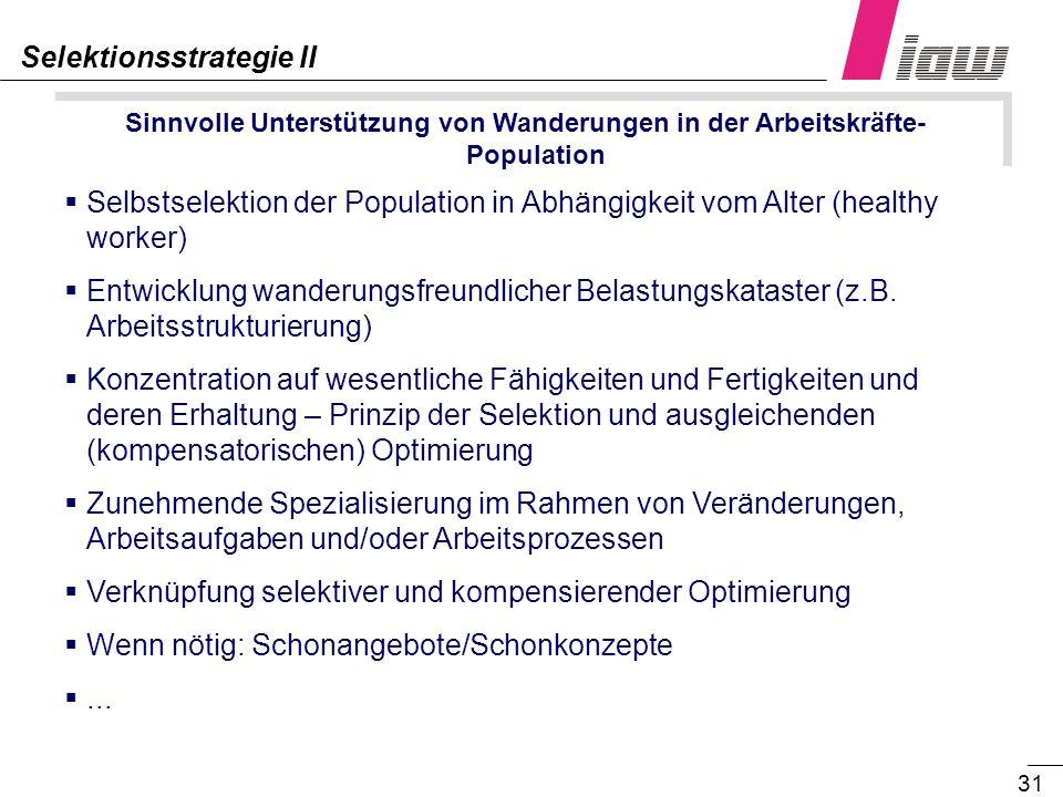 31 Sinnvolle Unterstützung von Wanderungen in der Arbeitskräfte- Population Selektionsstrategie II Selbstselektion der Population in Abhängigkeit vom