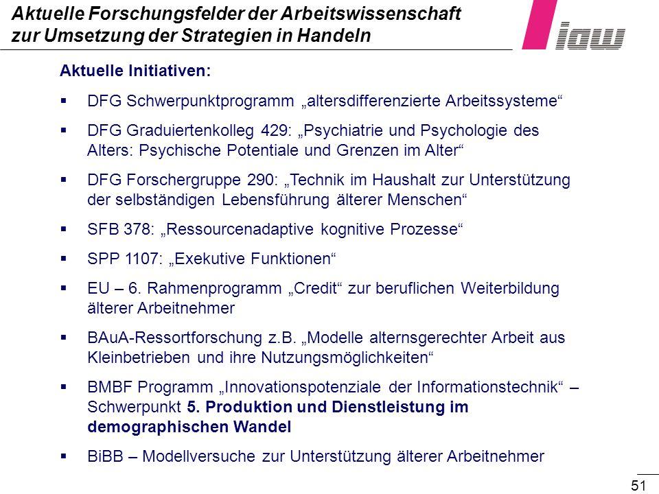 51 Aktuelle Forschungsfelder der Arbeitswissenschaft zur Umsetzung der Strategien in Handeln Aktuelle Initiativen: DFG Schwerpunktprogramm altersdiffe