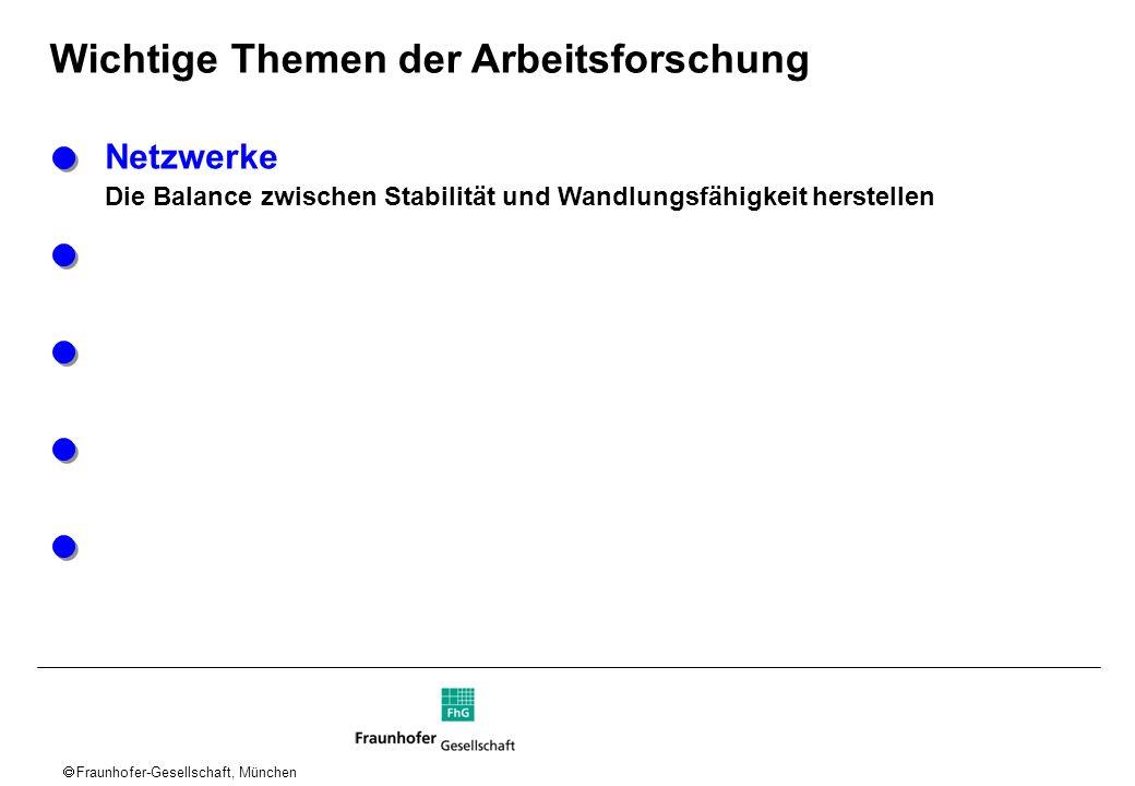Fraunhofer-Gesellschaft, München Wichtige Themen der Arbeitsforschung Netzwerke Die Balance zwischen Stabilität und Wandlungsfähigkeit herstellen