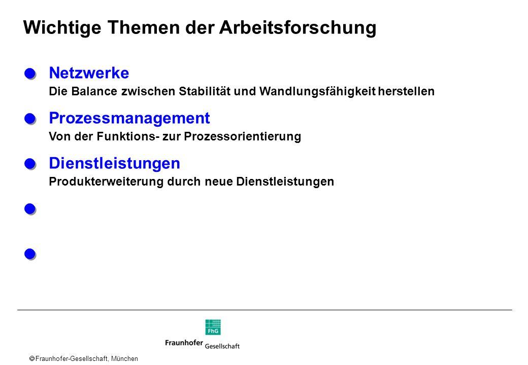 Fraunhofer-Gesellschaft, München Wichtige Themen der Arbeitsforschung Netzwerke Die Balance zwischen Stabilität und Wandlungsfähigkeit herstellen Proz