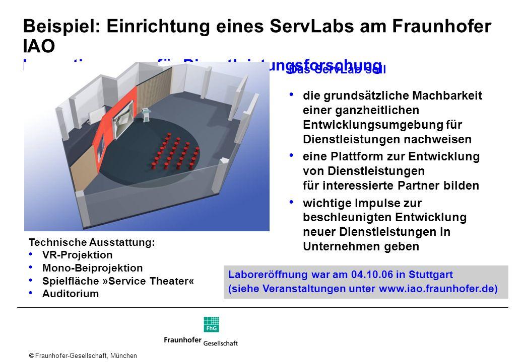 Fraunhofer-Gesellschaft, München Beispiel: Einrichtung eines ServLabs am Fraunhofer IAO Innovationsraum für Dienstleistungsforschung Das ServLab soll