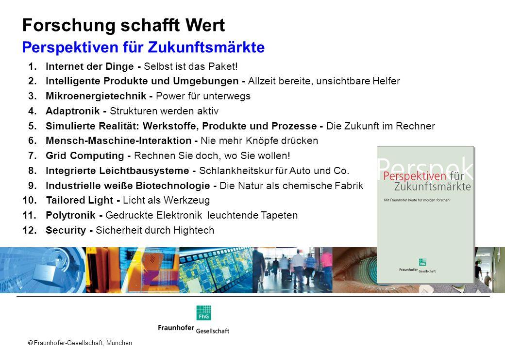 Fraunhofer-Gesellschaft, München 1.Internet der Dinge - Selbst ist das Paket! 2.Intelligente Produkte und Umgebungen - Allzeit bereite, unsichtbare He