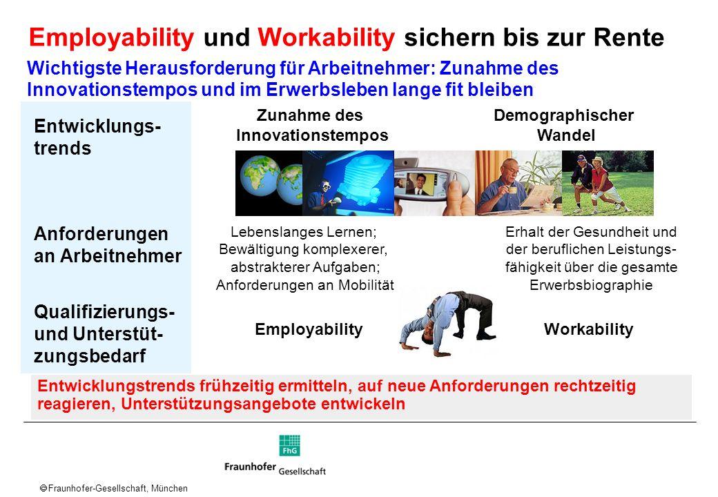 Fraunhofer-Gesellschaft, München Entwicklungs- trends Anforderungen an Arbeitnehmer Qualifizierungs- und Unterstüt- zungsbedarf Erhalt der Gesundheit