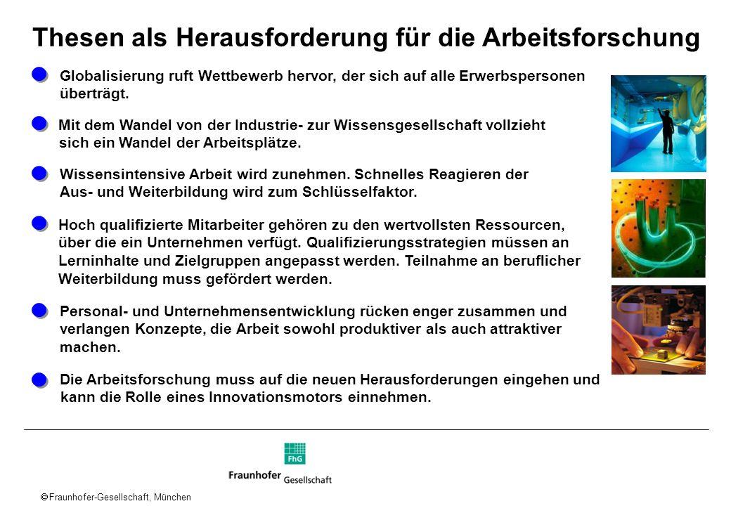 Fraunhofer-Gesellschaft, München Mit dem Wandel von der Industrie- zur Wissensgesellschaft vollzieht sich ein Wandel der Arbeitsplätze. Hoch qualifizi