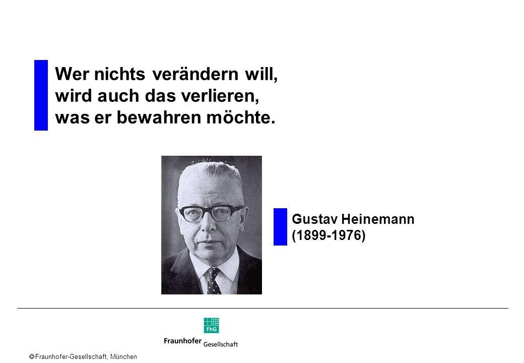 Fraunhofer-Gesellschaft, München Wer nichts verändern will, wird auch das verlieren, was er bewahren möchte. Gustav Heinemann (1899-1976)
