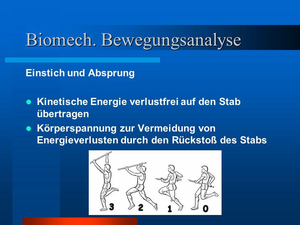 Biomech. Bewegungsanalyse Einstich und Absprung Kinetische Energie verlustfrei auf den Stab übertragen Körperspannung zur Vermeidung von Energieverlus