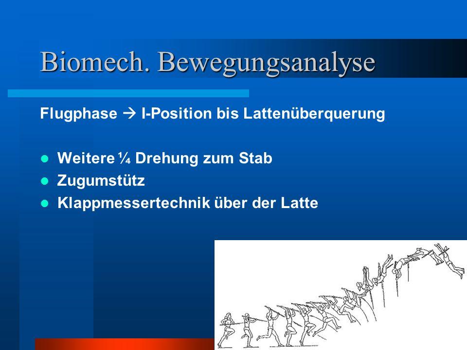 Biomech. Bewegungsanalyse Flugphase I-Position bis Lattenüberquerung Weitere ¼ Drehung zum Stab Zugumstütz Klappmessertechnik über der Latte
