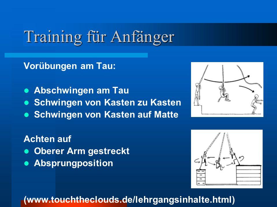 Training für Anfänger Vorübungen am Tau: Abschwingen am Tau Schwingen von Kasten zu Kasten Schwingen von Kasten auf Matte Achten auf Oberer Arm gestre