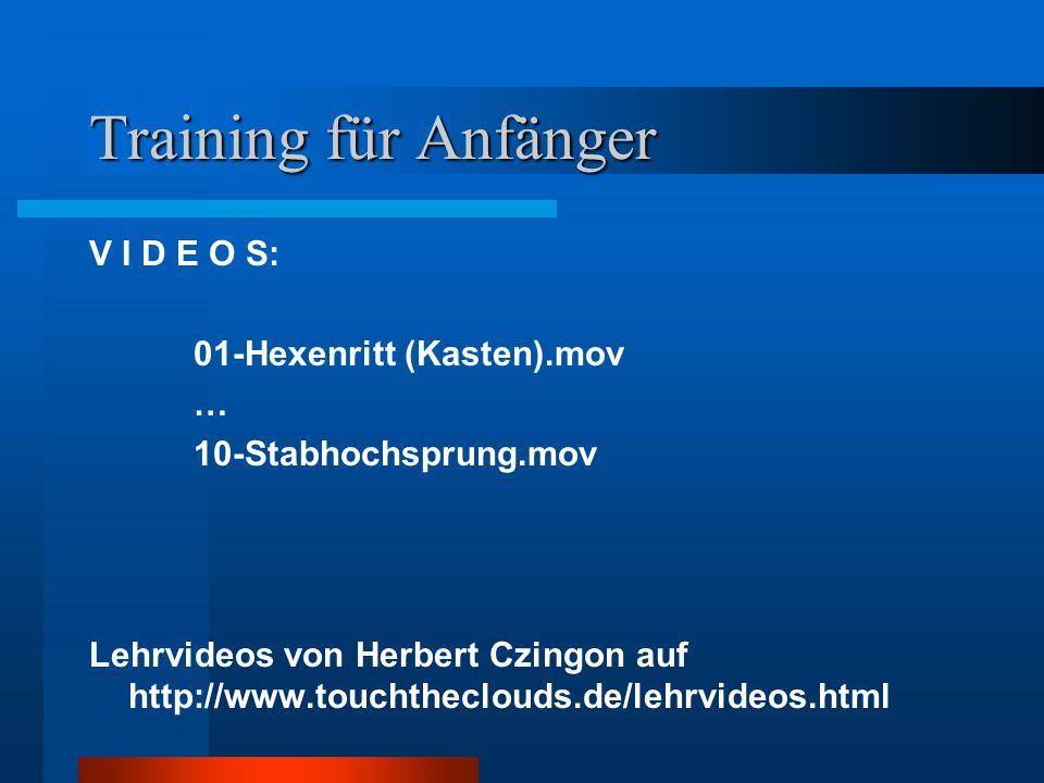 Training für Anfänger V I D E O S: 01-Hexenritt (Kasten).mov … 10-Stabhochsprung.mov Lehrvideos von Herbert Czingon auf http://www.touchtheclouds.de/l