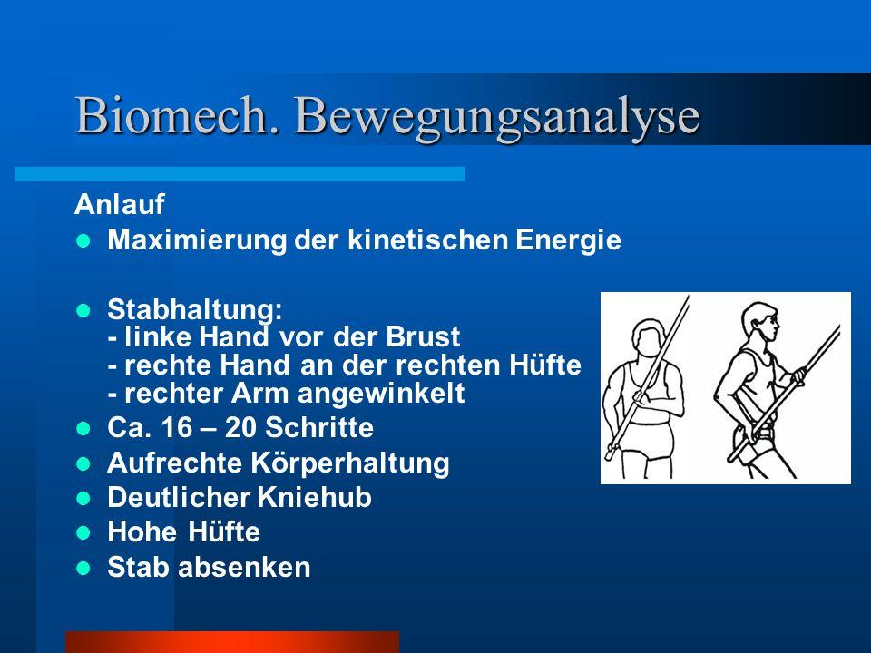 Biomech. Bewegungsanalyse Anlauf Maximierung der kinetischen Energie Stabhaltung: - linke Hand vor der Brust - rechte Hand an der rechten Hüfte - rech