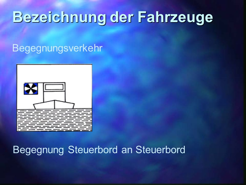 Bezeichnung der Fahrzeuge Begegnungsverkehr Begegnung Steuerbord an Steuerbord