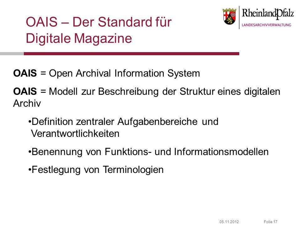 05.11.2012Folie 17 OAIS – Der Standard für Digitale Magazine OAIS = Open Archival Information System OAIS = Modell zur Beschreibung der Struktur eines